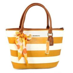 Michael Kors Scarf Striped Medium Yellow Totes Outlet