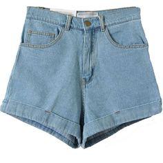 Light Blue High Waist Roll-up Denim Shorts (€20) ❤ liked on Polyvore featuring shorts, denim shorts, light blue jean shorts, high waisted stretch shorts, short denim shorts and high rise jean shorts