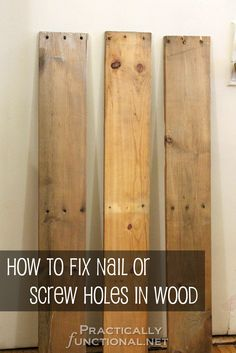 To Fix Nail Or Screw Holes In Reclaimed Wood Ever started a pallet upcycle project, only to realize that there are giant holes in the boards from the nails? Luckily you can fix that with toothpicks and some wood glue!Board Board or Boards may refer to: Pallet Crafts, Diy Pallet Projects, Wood Crafts, Pallet Ideas, Barn Board Projects, Decor Crafts, Easy Crafts, Recycled Pallets, Wood Pallets