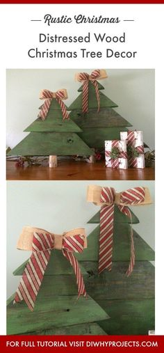 Tutorial for Distressed Wood Christmas Tree Decor, Rustic Christmas Decor DIY, Farmhouse Christmas Decorations. #rusticchristmas #christmasdecor #farmhousechristmas