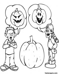 Boy And Girl Carving A Pumpkin Halloween Coloring Page