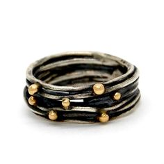 Visibly Interesting: Oxidized Sterling Silver wrap ring accented with 18K Yellow Gold balls