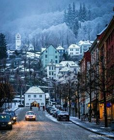 Streets of Bergen in winter, Norway.