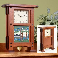 """The delicate mahogany grain on this classic clock allows your eye to focus on the decorative handmade tile and swinging pendulum. The instructions include a source for all the necessary hardware.  Overall Dimensions: 16"""" high by 5"""" deep by 12"""" wide.  Featured in WOOD Issue 201, November 2010 - See more at: https://www.woodstore.net/plans/gifts/clocks/567-Greene-Greene-Style-Clock.html#sthash.pa4mSYvc.dpuf"""