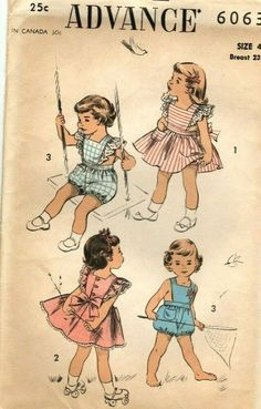 ec13db9153662 Vintage Advance Girl's SunSuit, Pinafore, Panty Sewing Pattern! #6063 sz 4  #Advance