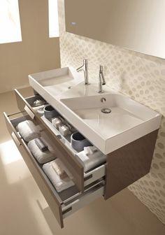 Двойная асимметричная раковина с тумбой для ванной