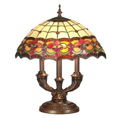 Tiffany Style Stained Glass Hanging Lamp W Beads Antique