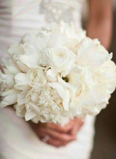 A Beautiful, Posh All White Bridal Bouquet: Calla Lilies, Ranunculus, Peonies, & Tulips