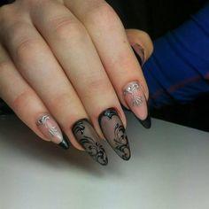 Schwarz Fingernagel Design