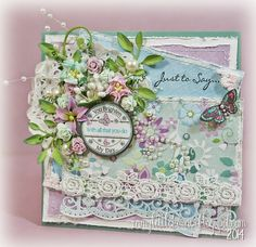 Shabby Chic Friendship card features LOTV patterned papers and stamps...