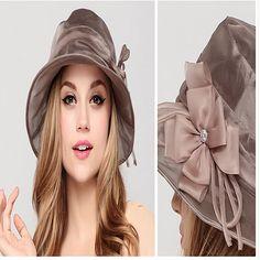 4fe37fde718 Women s Big Bow Mulberry Silk Sun Protection Hat - Light Pink - CR11AZ6EOA1