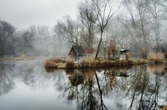 Magical Abandoned Fishing Village Near Budapest  The Slovakian photographer Viktor Egyed accidentally found the abandoned fishing village of Sz ö Dliget located three hours outside of Budapest in Hungary. The village made a strong impression on him so he returned there with his camera to capture the peaceful and disturbing atmosphere of this village. The fog the colors and the trees give a sensation of emptiness anxiety and beauty at the same time. The small houses placed on islands in the…