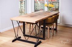 stol ekskluzywny industrialny rozkladany ze starego debu
