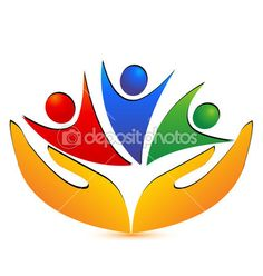 Teamwork hands and connections logo — Stock Illustration #25654277