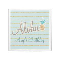 Hawaiian Luau Party, Custom Napkins