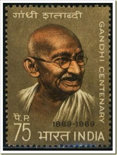 Stamp of India with Mohandas Karamchand #Gandhi मोहनदास करमचंद गांधी  More about #stamps: http://sammler.com/stamps/ Mehr über #Briefmarken: http://sammler.com/bm