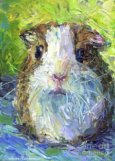 Whimsical Guinea Pig painting print Painting by Svetlana Novikova - Whimsical Guinea Pig painting print Fine Art Prints and Posters for Sale