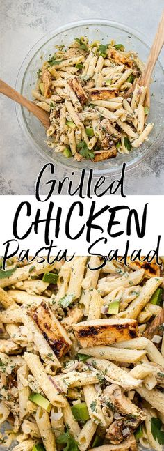 This healthy grilled chicken pasta salad is full of fresh summer flavors and smoky BBQ sauce! The creamy dressing is lightened up with Greek yogurt. A BBQ chicken pasta salad with fresh flavors and a lightened-up creamy dressing. Healthy Pastas, Healthy Salad Recipes, Healthy Pasta Dishes, Pasts Salad Recipes, Healthy Noodle Recipes, Fresh Salad Recipes, Vegan Recipes, Healthy Grilling Recipes, Salad Dishes