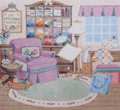 Handpainted Needlepoint CANVAS Sandra Gilmore STITCHING Haven Sewing Room 18M Pink Beige -Free US Shipping!!!