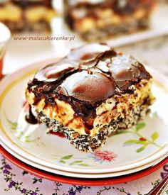 Pychotka kokosowo – makowa z polewą czekoladową Sweet Desserts, No Bake Desserts, Sweet Recipes, Cake Recipes, Dessert Recipes, Polish Desserts, Polish Recipes, Food Cakes, Cupcake Cakes
