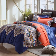 Royal Blue Orange Modern Colorful Bohemian Chic Western Paisley And Indian Tribal Print Full Queen Size Bedding Sets