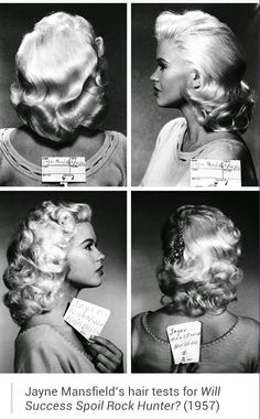 """Jane Mansfield's hair tests for """" Will Success Spoil Rock Hunter?"""" (1957)"""