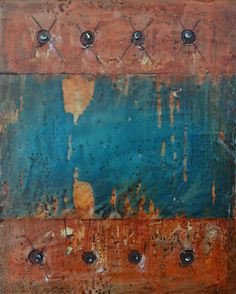 """Encaustic with Assemblage Art by Domenick Naccarato titled, """"Eight Carpet Tacks"""""""