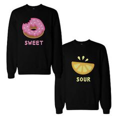 Cute Sweet and Sour Funny BFF Matching Couple SweatShirts Gift for Best Friend