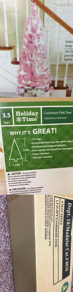 Artificial Christmas Trees 117414: 3.5 Holiday Time Cashmere Pink Artificial Christmas Tree White Lights Pre-Lit -> BUY IT NOW ONLY: $49.99 on eBay!