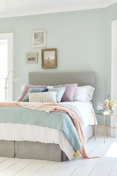 Pastel shades are versatile, full of personality, and can inject colour into an interior even on the greyest and gloomiest of days. Pastels are instantly uplifting due to their white undertone and subtle colour pigments. Read our guide for some . Small Bedroom Colours, Small Master Bedroom, Bedroom Color Schemes, Colourful Bedroom, Bedroom Decor Colours, Small Double Bedroom, Pastel Bedroom, Bedroom Neutral, Pastel Interior