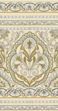 Creamy yellow and sage green frieze