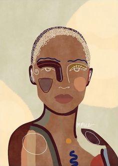 Abstract Face Art, Black Art Pictures, Small Canvas Art, Brown Art, True Art, Illustrations, Fantastic Art, African Art, Aesthetic Art