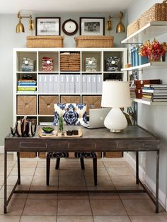 HomeGoods | Organize Your Office.  Ikea cubbies, wall shelves and a clean desk.  Nice office.   #office #organized www.simply-org.com