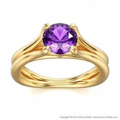 Amethyst Engagement Ring Temptation #gold #customizable #jewelry
