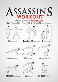 Assassin S Workout Fitness Workouts, Hero Workouts, Gym Workout Tips, At Home Workout Plan, Workout Challenge, At Home Workouts, Bike Workouts, Swimming Workouts, Swimming Tips