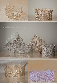 DIY crowns - lace, paint, modge podge
