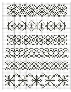 Blackwork Cross Stitch, Blackwork Embroidery, Cross Stitch Borders, Cross Stitch Kits, Ribbon Embroidery, Cross Stitch Embroidery, Embroidery Patterns, Cross Stitch Patterns, Crazy Quilt Stitches