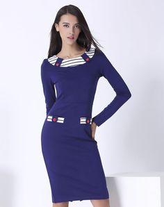 Blue Knitted Fashion Slim Fit Maxi Dress