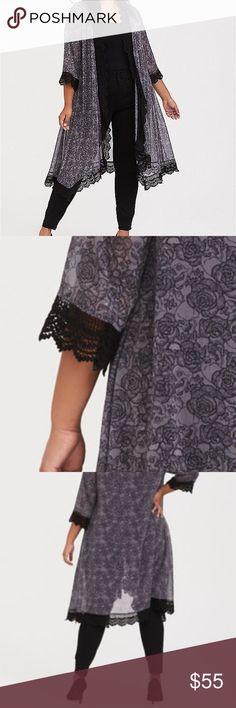 Torrid Kimono 1//2 3//4 5//6 Ivory Floral Duster Top Cardigan Swim Cover-Up Plus