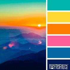 Bright and beautiful sunset palette color combos, bright color schemes, bright colored Color Schemes Colour Palettes, Colour Pallette, Color Combinations, Bright Color Schemes, Bright Colour Palette, Bright Color Pallets, Bright Colors, Summer Color Palettes, Tropical Colors