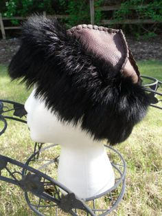 Norse, Mongolian, Russian, Viking, 100% Hand Stitched Leather Fur Trim Hat sz. M/L $95 This beautiful chocolate brown leather with black rabbit fur trim hat is one of my lovely new editions to my shop.