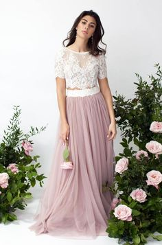 Short sleeve lace top and full-length Tulle-skirt Bridal set Wedding Bridesmaids, Wedding Gowns, Bridal Sets, Fashion Outfits, Trending Outfits, Lace, Skirts, Etsy, Beauty