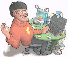 """Simone il tecnico, dalla striscia""""Net To Be"""" Simon the technician, from comic strip """"Net To Be"""""""