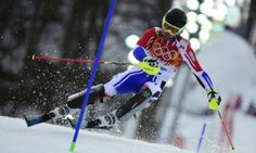 France's Alexis Pinturault competes during the men's alpine skiing slalom run 1.
