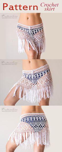 PATTERN Crochet beach fringed skirt lacy boho skirt PDF