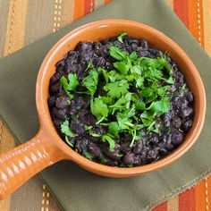 Slow Cooker Recipe for Black Beans with Cilantro from Kalyn's Kitchen  #LowGlycemicRecipes  #SouthBeachDietRecipes