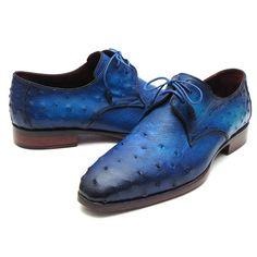 Paul Parkman Men's Ocean Color Genuine Ostrich Derby Shoes (ID#79V22)