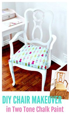 Create a pretty shabby chic office chair with two tone chalk paint in pink and white and fabric. A tutorial for a thrifted chair makeover. #faeriesandfauna #chairmakeover #chairmakeoveridea #homeoffice #homeofficeideas #shabbychic