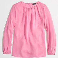 """J.Crew factory pleated top In perfect preloved condition.  I love the pleated neckline and button sleeves.  No stains rips or holes. Absolute gorgeous. Wished it fit me.  100% polyester and measures about 15"""" from armpit to hem.  Color is better represented by first picture. J. Crew Tops"""