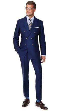 Royal Blue Pick & Pick Suit | Extrafine English Wool by Alfred Brown. Browse the suits at https://www.oliverwicks.com #custom #suit #OliverWicks